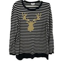 Crown & Ivy Curvy Navy Blue White Stripe Gold Deer Sweater Top Plus Size 1X