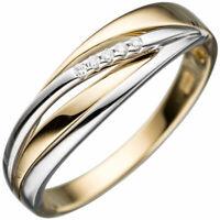 Ring Damenring mit 5 Diamanten Brillanten, 585 Gold Gelbgold & Weißgold bicolor