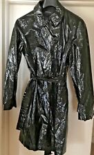 Jaeger Black Faux Leather Light Raincoat or Trench Coat Size L Cost