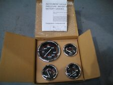 MERCURY/QUICKSILVER INSTRUMENT SET, BLACK FACE, RED GRADUATIONS, CHROME BEZEL