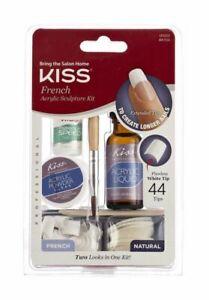 Kiss French Acrylic Powder & Liquid Kit Nail Speed Glue Brush French Tip - AK104