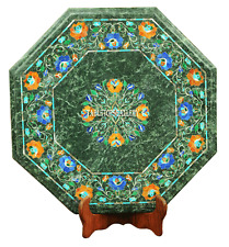 """16"""" Green Marble Coffee Table Top Carnelian Inlay Marquetry Room Decors H2231"""
