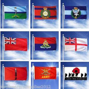 "6"" X 4"" MILITARY HAND FLAG BRITISH ARMY REGT RAF MARINES PARA SAS LEST WE FORGET"