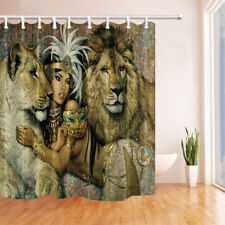 Egyptian woman and lion Shower Curtain Bathroom Decor & 12hooks 71*71inches