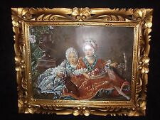 VINTAGE ITALIAN OIL PAINTING OF TWO ELEGANT YOUNG LADIES