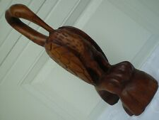 """Large *Pelican Bird* Solid Wood Carving 17.5"""" Tall Sculpture ~Vintage ~Excellent"""