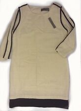 New Large Wells Grace Shift Subtle Sparkle Cream Dress with Black Piping (NWT)