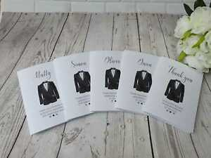 Wedding Thank you Card Best Man Usher Page boy Groomsman Black Suit Personalised