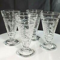 Vintage Set of 4  EAPG Pressed Glass Aperitif or Shot Glasses Etched Bullrush
