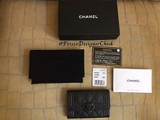 NWT 2017 CHANEL SO BLACK Boy Caviar Quilted Flap Card Case Holder/Wallet