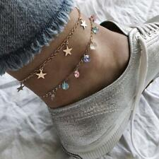 2 Layers Dangle Star Colorful Crystal Anklet Barefoot Foot Chain Ankle Bracelet