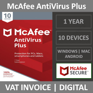 McAfee AntiVirus Plus 2021 | 10 Devices | 1 Year | PC/Mac/Android