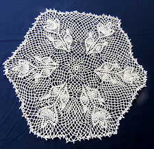 "Hand Made Crochet Lace Doily Hexagon Floral 22"" Beige Cotton"