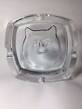 """Kitty cat ashtray clear heavy glass embossed 4.5"""""""