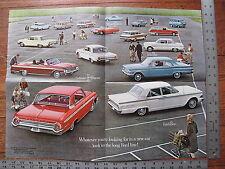 Original 1962 62 Ford Fairlane Galaxie Thunderbird Falcon Poster Sales Brochure