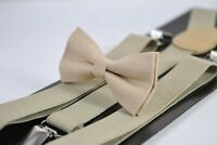 Sand Pale Brown Beige Cotton Bow Tie + Khaki Suspenders Braces for All Ages