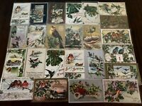 ~Estate~Lot of 25~CHRISTMAS & NEW YEAR'S~BIRDS~ Vintage BIRD Postcards-a681