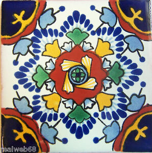 "C260- Mexican Handmade Talavera Clay Tile Folk Art 4x4""  Handpainted"