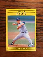 1991 Fleer #302 Nolan Ryan Baseball Card Texas Rangers HOF Raw