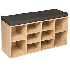 Estantería zapatero de madera con banco sólida taburete estantes calzado roble N
