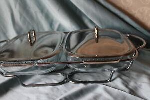 PYREX 260 Servierbehälter ♛ GLAS SCHALEN Schale Edelstahl Montur  🍬 L 50,5cm