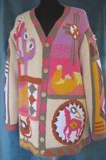 Storybook Knits Cardigan Sweater L Southwest Symbols Kokopelli Cactus Multicolor