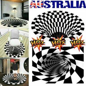 3D printed Round Vortex Illusion Pattern Anti-slip Carpet Floor Mat Door Mat Rug