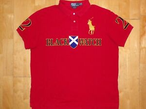 Mens Polo by Ralph Lauren BIG PONY XL Red Shirt CUSTOM FIT #2 BLACK WATCH Team