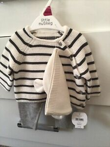 Nutmeg Baby Unisex Knitted Outfit With Hat Newborn