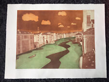 "JOHN BRUNSDON RE 1933-2014 Large Limited Edition ETCHING ""Grand Canal"" ed 34/150"