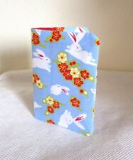 Bunny rabbit credit Card / ticket Holder blue cotton fabric business card holder