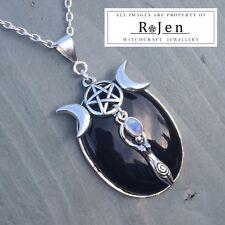Black Onyx Rainbow Moonstone Goddess Triple Moon Pentagram Pendant Wicca Chakra