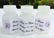120 LAVENDER ORCHID FLOWERS Personalized BUBBLE labels/stickers for WEDDING