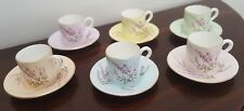 Vintage Boxed Set of Six Foley Pastel Harlequin Heather Demitasse cup and saucer