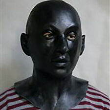 Deluxe Black Men Mask Latex Overhead Role play Cosplay Fancy Doll Costume Male