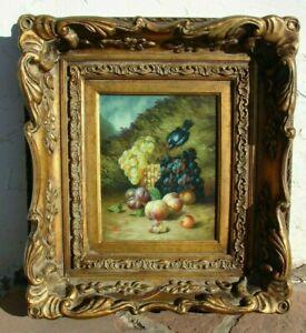 VTG Oil Painting BLACK BIRD Fruit GRAPE Framed WALL Art ARTIST SIGNED Still LIFE