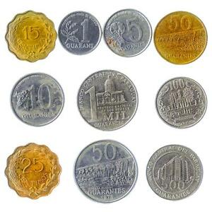 10 DIFFERENT COINS FROM PARAGUAY. GUARANI, CENTIMOS MONEY. COLLECTIBLE CURRENCY