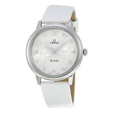Omega De Ville White Diamond Dial White Satin Ladies Watch 42412336052001