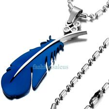 Stainless Steel Classic Chain w/ Blue Feather Pendant Women's Men's Necklace