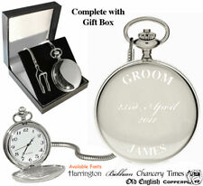 Groom Engraved Personalised with Name Date Pocket Watch