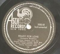 "1945 Jazz bebop COLEMAN HAWKINS ""READY FOR LOVE"" on 78 rpm ASCH 3553 VG+"