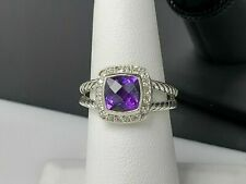 David Yurman Petite Albion Ring With Amethyst and Diamonds Size 7