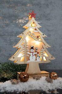 Deko Tannenbaum LED Beleuchtung Weihnachten Schneemann Weihnachtsbaum Holz Licht