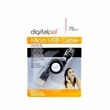 75cm Negro Usb Retráctil A a Micro B Datos Cable De Carga Samsung HTC Nokia