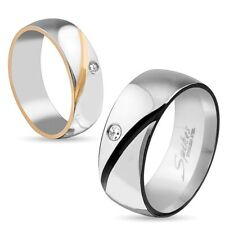 Men Women Cubic Zirconia Accented Stainless Steel Wedding Band Ring Sizes 5 - 13