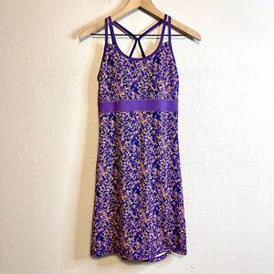 Gaiam Women's XS Strappy Back Athletic Dress Built in Bra Tennis Purple Orange