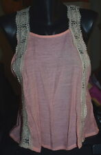 New Timing Top Pink Off White Lace Sleeveless Size Large