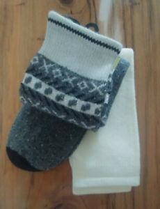 No Nonsense Women's BOOT SOCKS Size 4-10 Mid-Calf 2 PACK Gray Silver Cream NEW