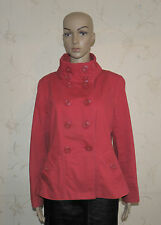 Red Denim NEW LOOK Button Fitted Military Hip Length Jacket Blazer Size 14 / 42