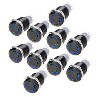10pcs Angel Eye Black Led 16mm Hole 12V Metal Latching Push Button Switch Blue